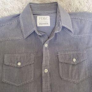 Boys Button Down Shirt Navy White Size Medium 10